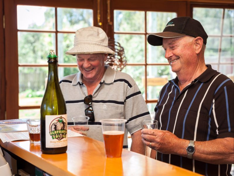 Sampling beer at Seven Sheds cellar door