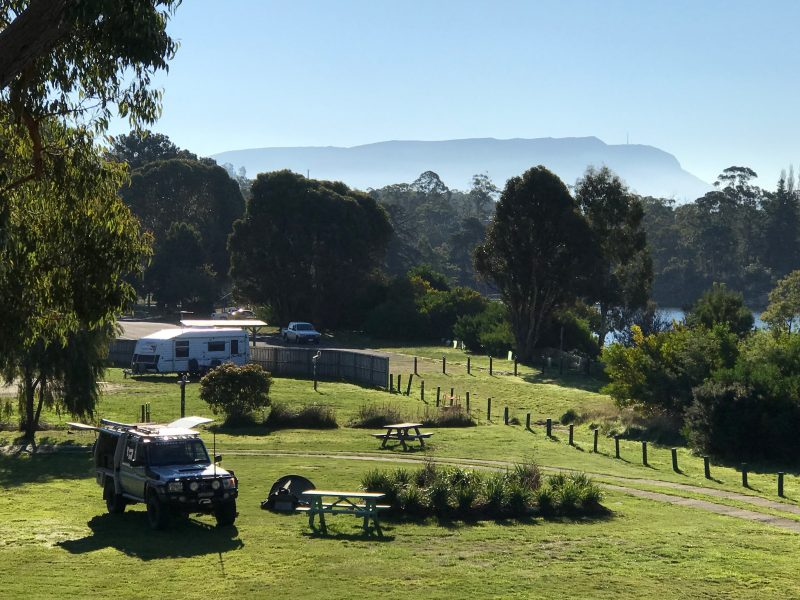 View over camp sites of Mt Wellington