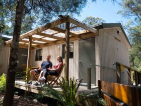 Tahune Adventures Lodge deck sitting area, enjoy the fresh air of the Southern Tasmanian Forest.