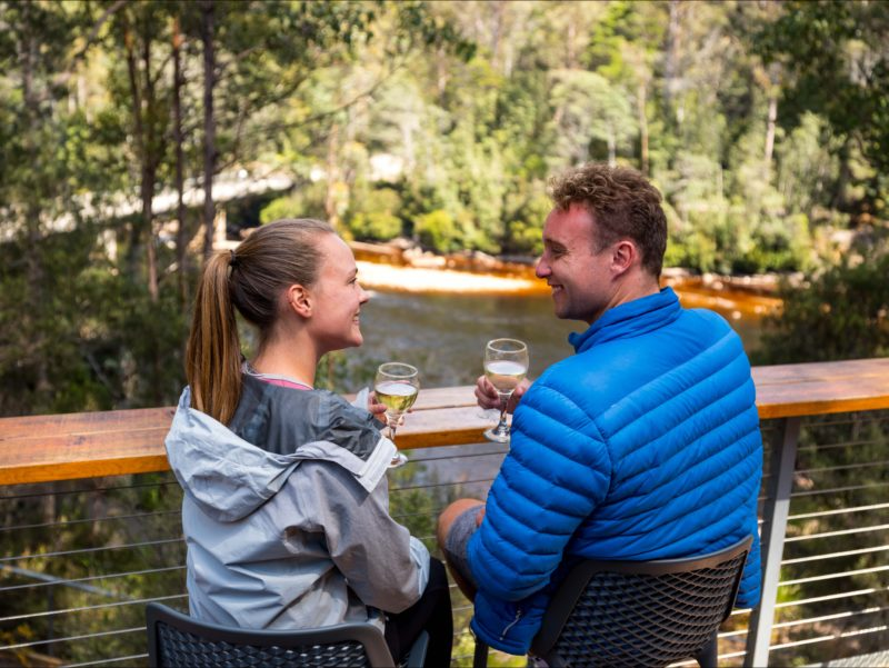 Tahune Adventures Tasmania - Huon River view from cafe deck.