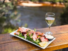 A plate of salmon over salad and glass of wine on bench, overlooking river
