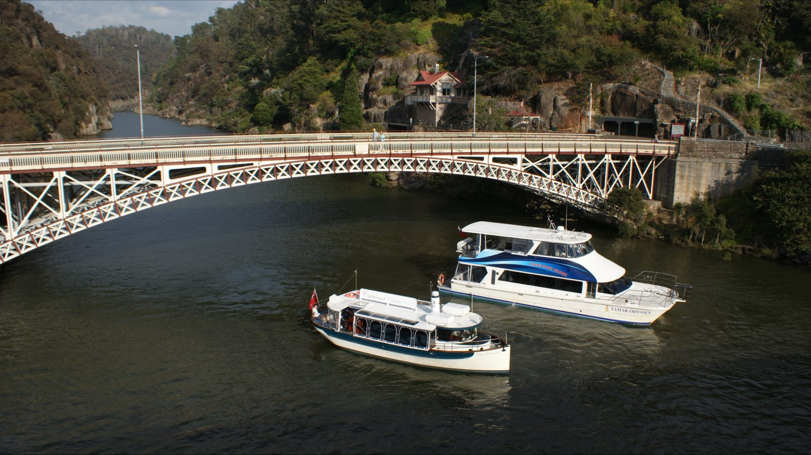 Lady Launceston and Tamar Odyssey at the entrance to Cataract Gorge
