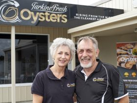 Jon and Annette Poke outside of Tarkine Fresh Oysters Cafe
