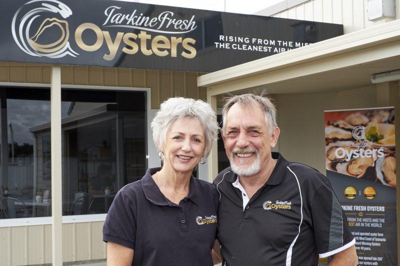 Jon and Annette Poke outside of Tarkine Fresh Oysters Cafe