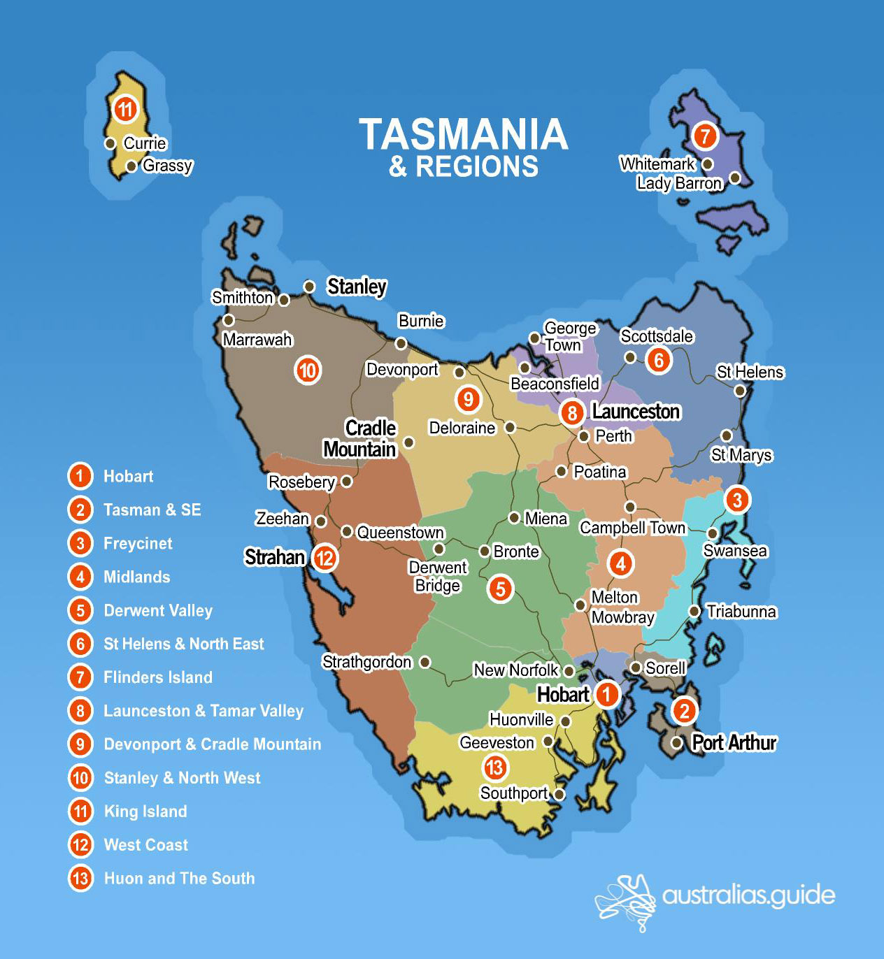 Maps Of Tasmania Map of Tasmania | Tasmania   Australia's Guide