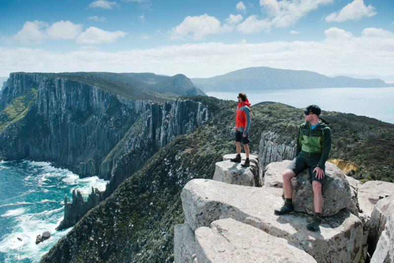 Walkers enjoying the views on the Three Capes Track, Tasman National Park