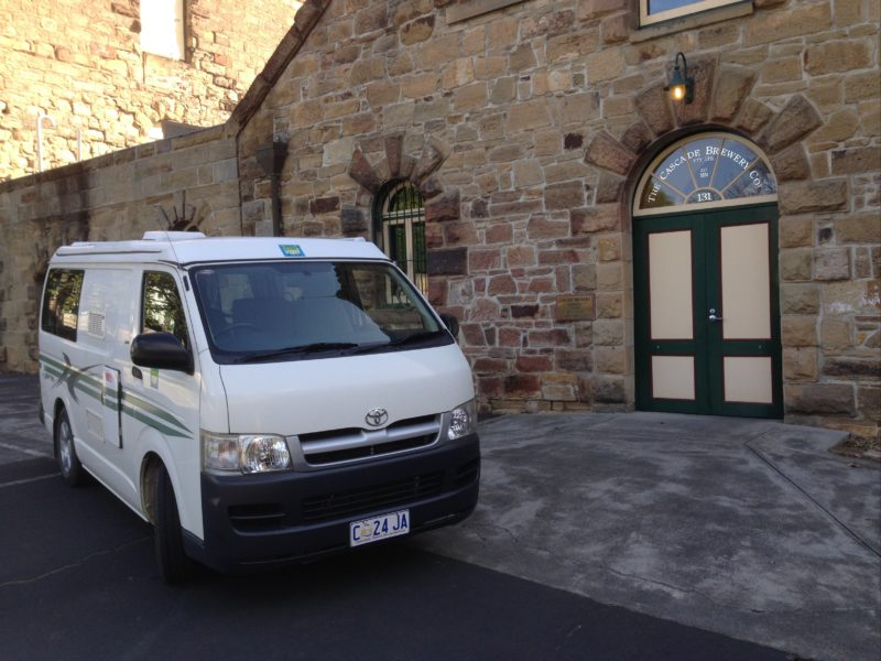 Campervan shown at the Cascade brewery, getting ready for a brewery tour.
