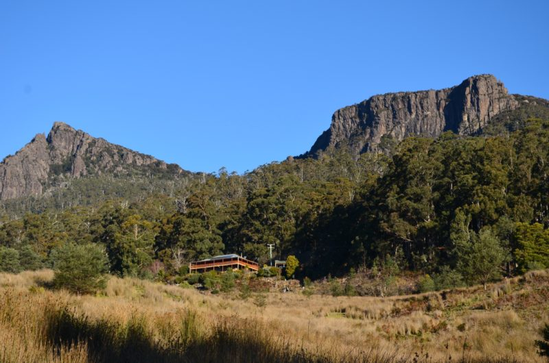 The mountains behind and The Lodge at the Peak
