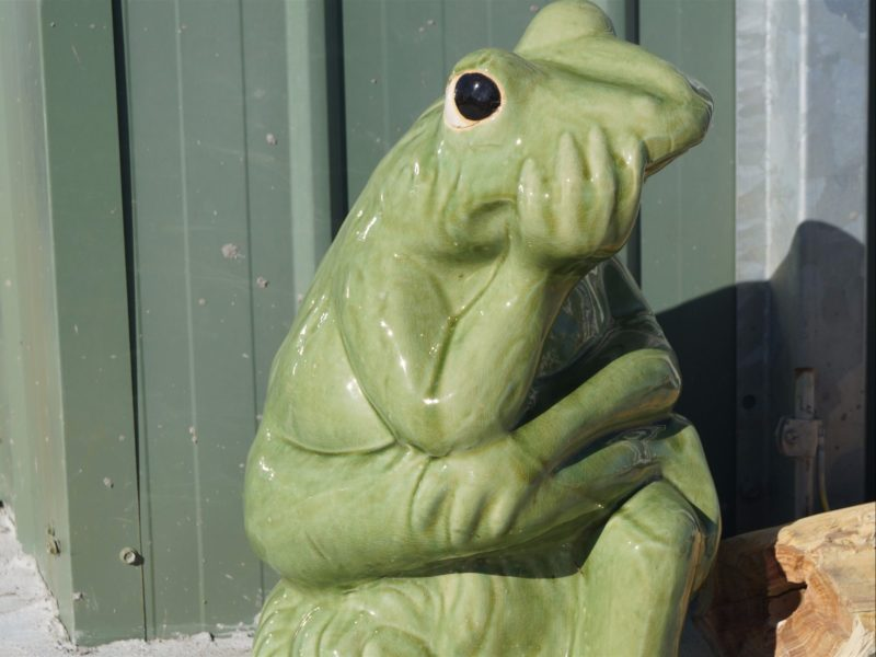 A frog statue