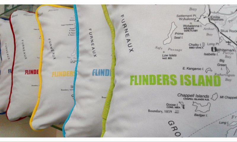 Flinders Island cushion green aqua yellow red cushy locations