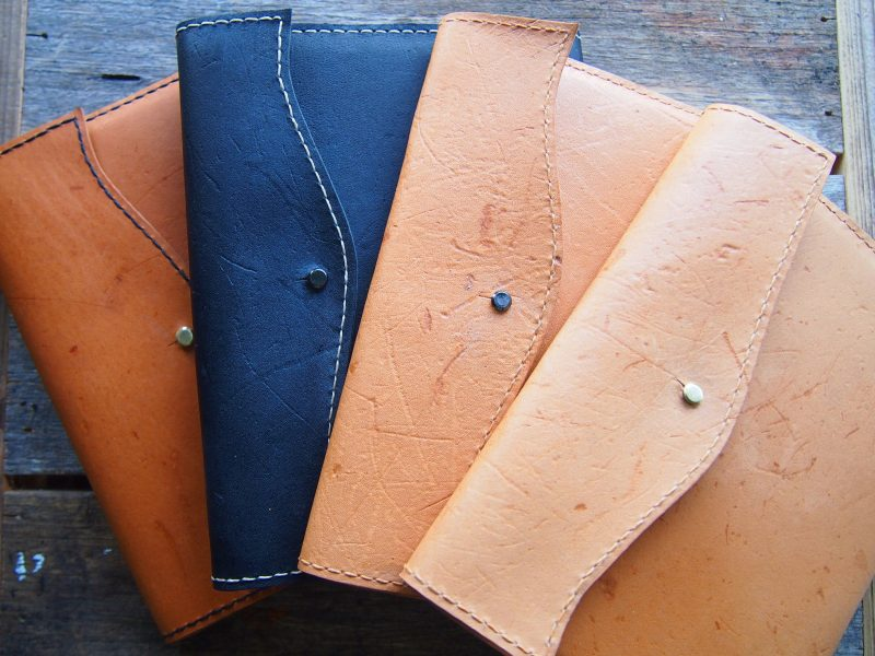 Flinders Island wallaby leather handmade journals black tan