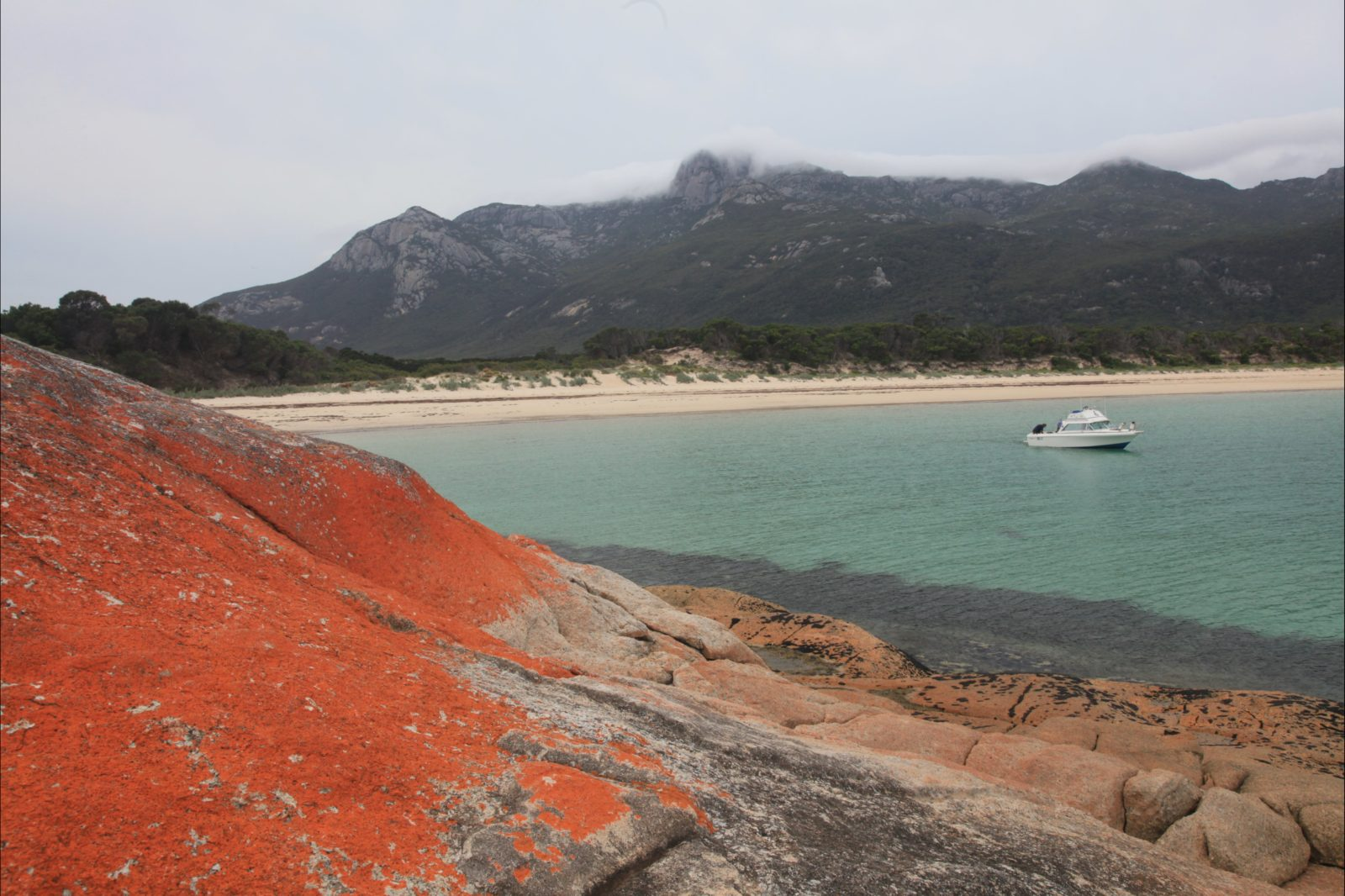 Trousers Point camping ground is located in the Strzelecki National Park Flinders Island Tasmania