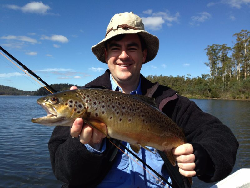 Four Springs lake fly fishing for brown trout.