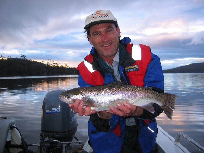 Gary France with a wild Tasmanian trout
