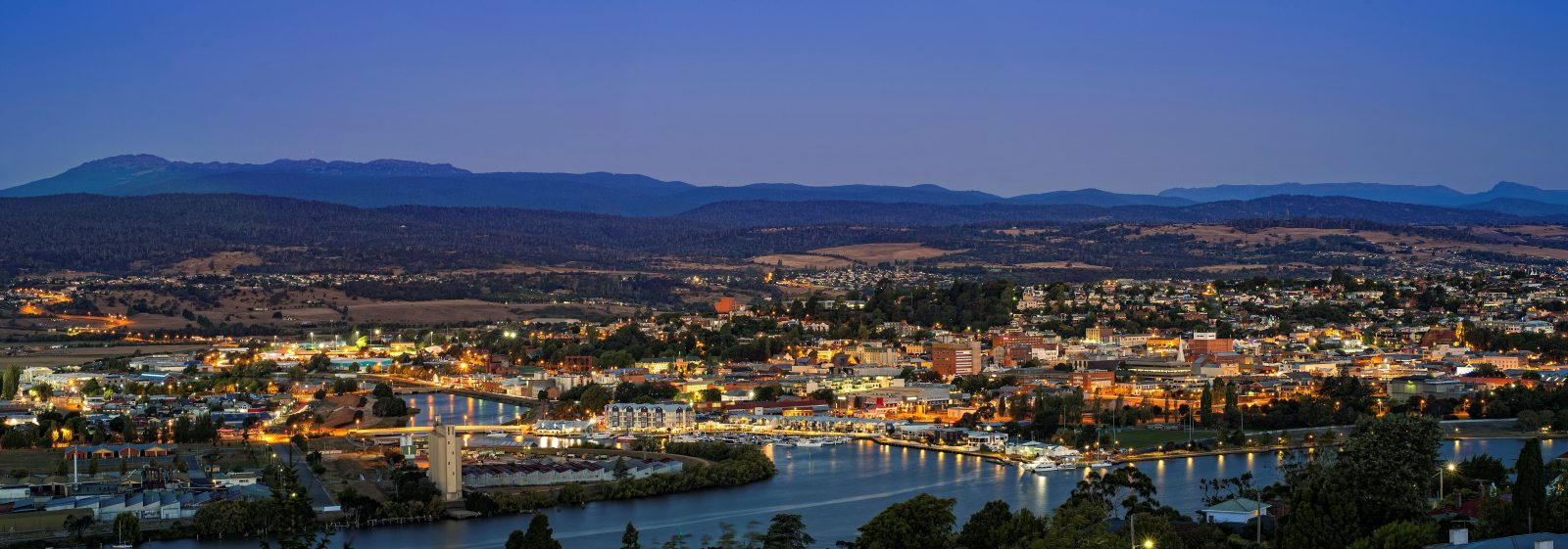 Launceston's setting, between the mountains of Northern Tasmania and its rivers.