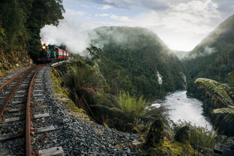 The West Coast Wilderness Railway travels through magnificent temperate rainforests
