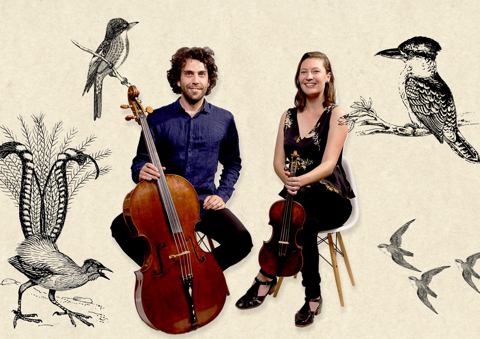 Musicians with background of birds
