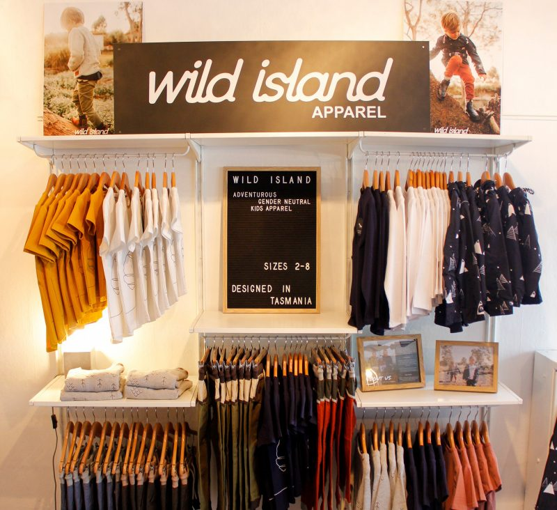 Wild Island Apparel in store children's clothing display