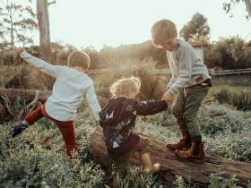 Children exploring nature in Tasmanian designed adventurous kids clothes by Wild Island Apparel