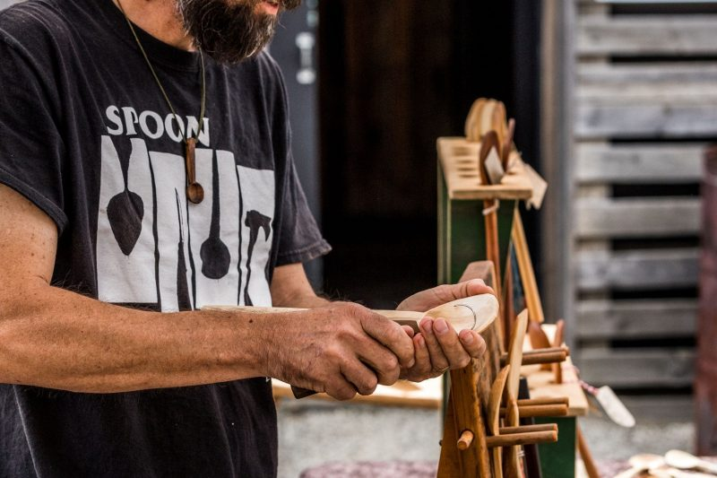 Hand carved spoons at Willie Smith's Apple Shed Market
