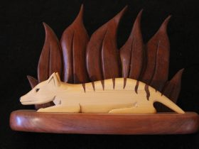 Tiger made using Huon Pine,Myrtle Foliage with Blackwood Base.