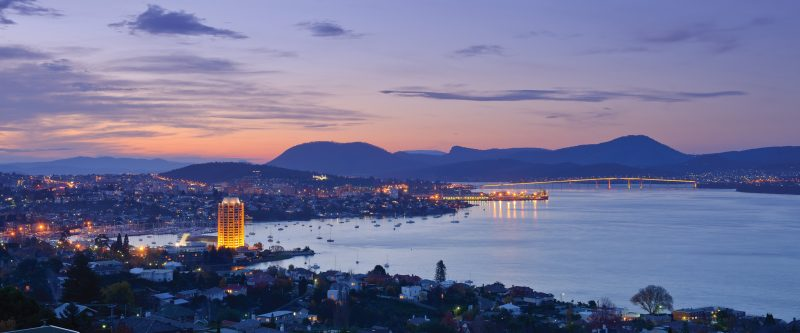 Wrest Point with Hobart City lights back drop