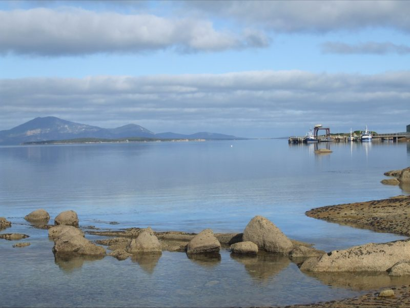 Franklin Sound dotted with outer islands like Cape Barren and Great Dog Flinders Island Tasmania