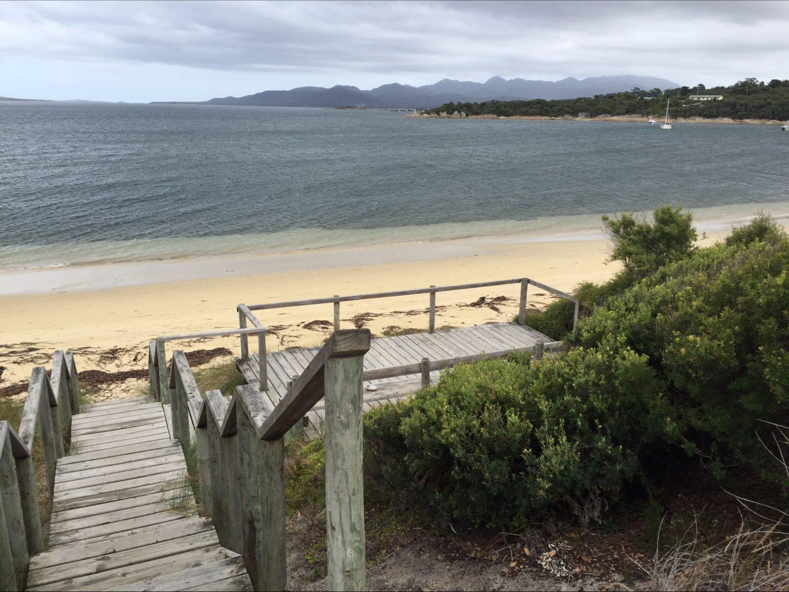 Steps to Yellow Beach plus viewing platform and seating Flinders Island Tasmania