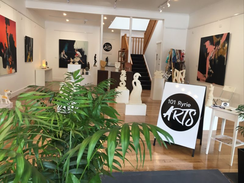 The gallery features visualart exhibitions and locally handcrafted works