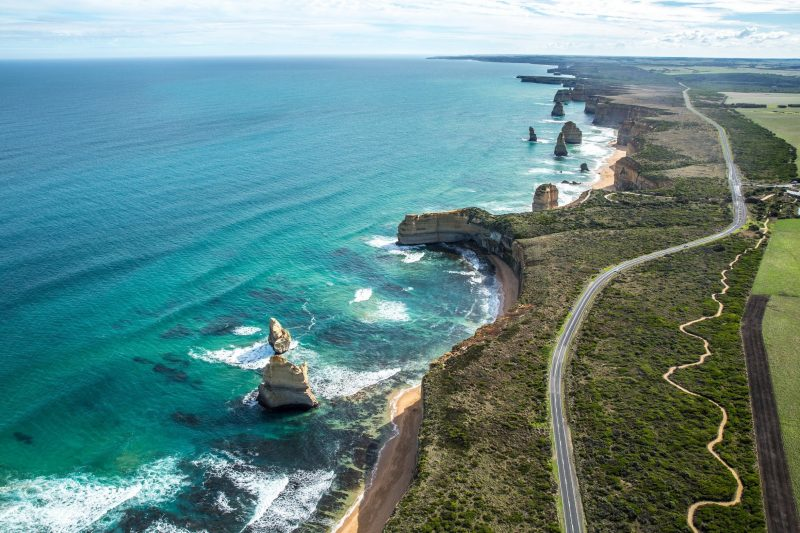 Aerial view of 12 Apostles with 12 Apostles Flight Adventures from Torquay