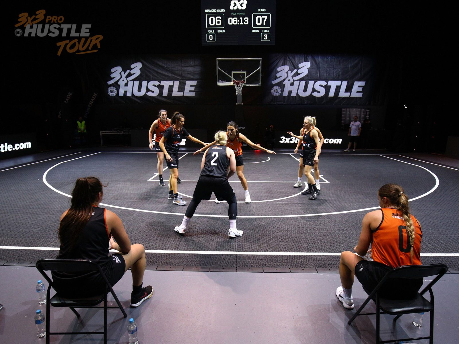 3x3 Pro Hustle players square up on the Hustle court