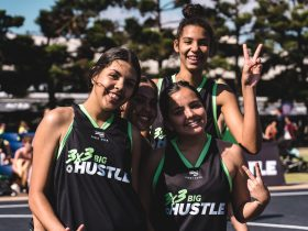 3x3 Big Hustle competitors celebrate at the 2019 Pro Hustle Tour in Geelong