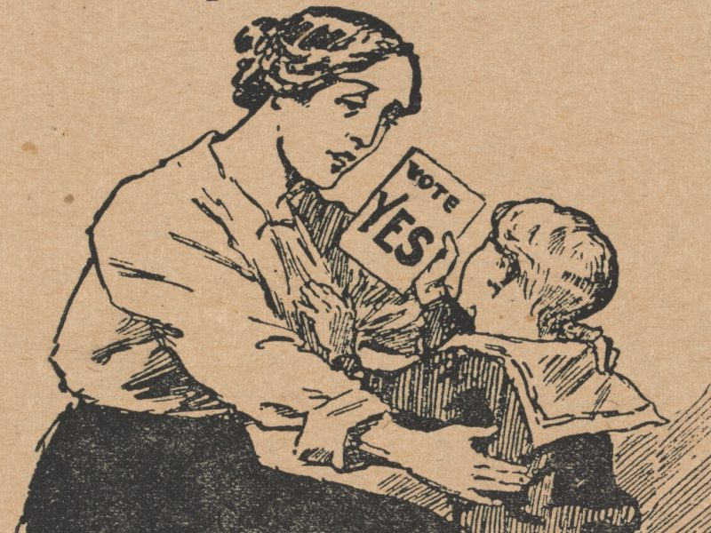 Child hands their mother a conscription flyer boasting 'Vote Yes'