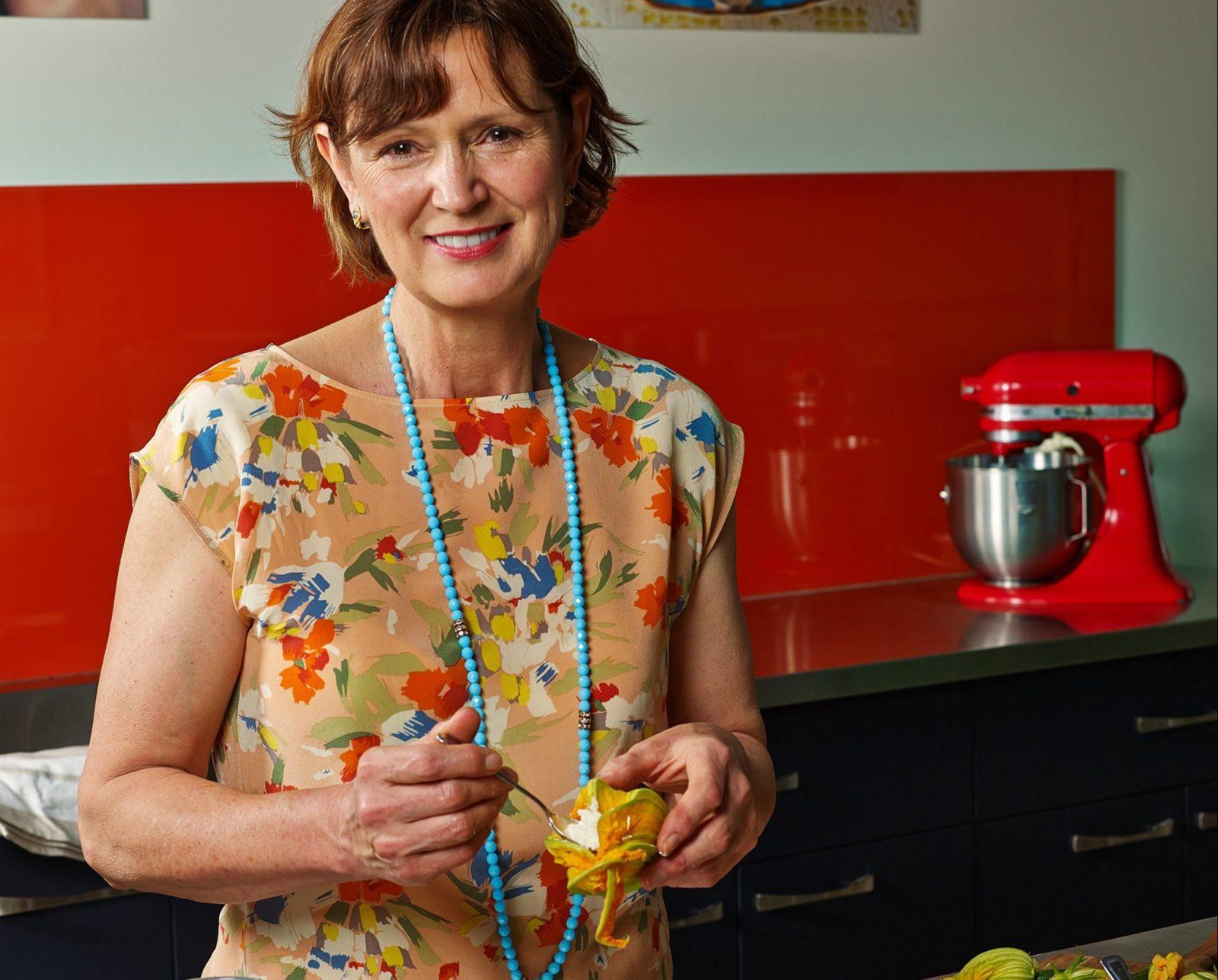 Katrina preparing stuffed Zucchini Flowers