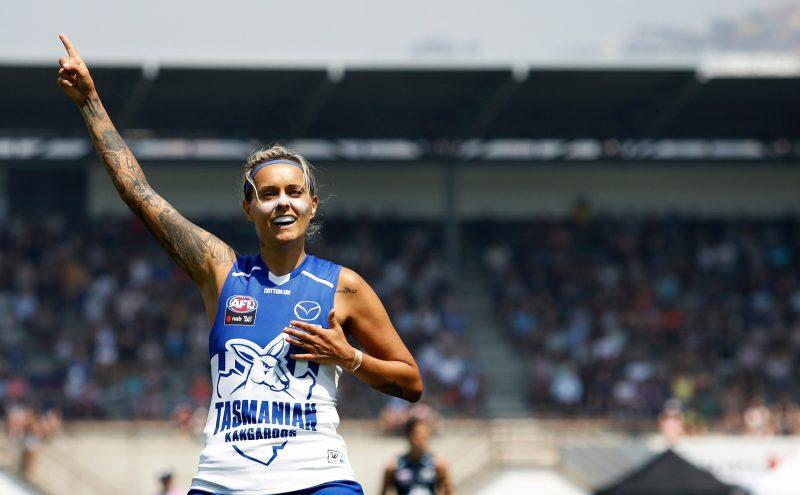 Mo Hope celebrates a goal for the Kangaroos