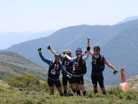 Teams of four hike to find checkpoints in adventure race