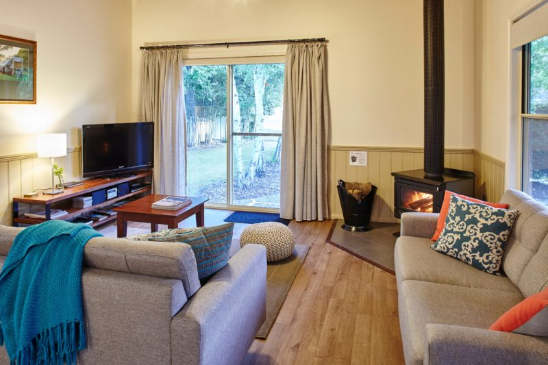 Lounge and wood fire in Alpine Valley Cottage two