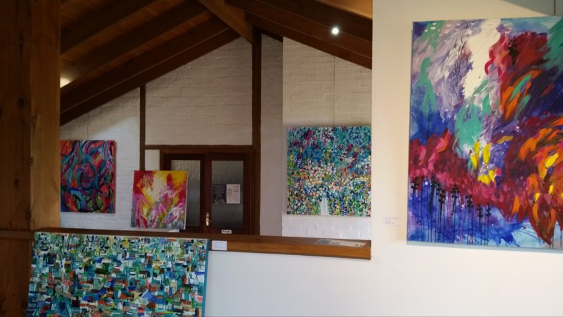 Colourful canvases in the gallery