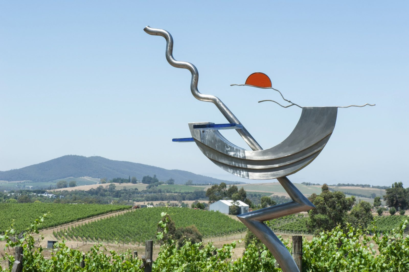 Stainless steel sculptures with vineyard views