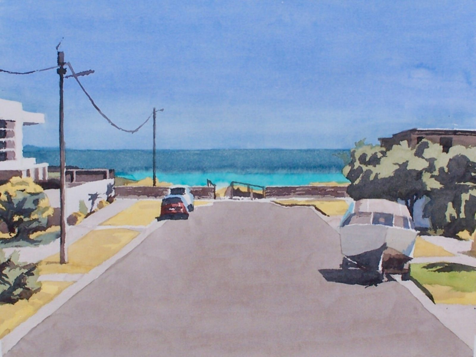 Painting of suburban street with ocean view. Car and boat parked on street.