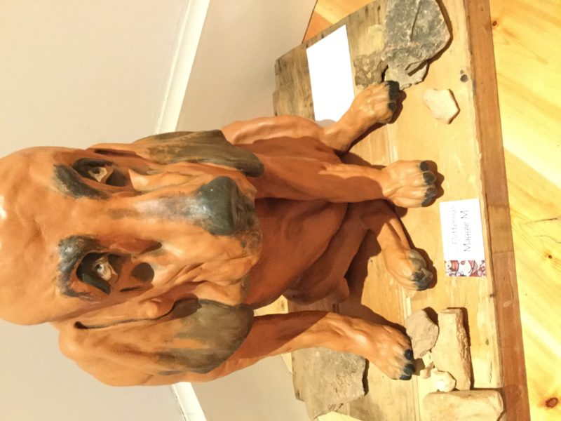 The Hound, one of many sculptures by Maggie Barnes- Oake on display at ART TRAX