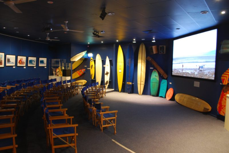 Check out epic surf movies in the theatre.