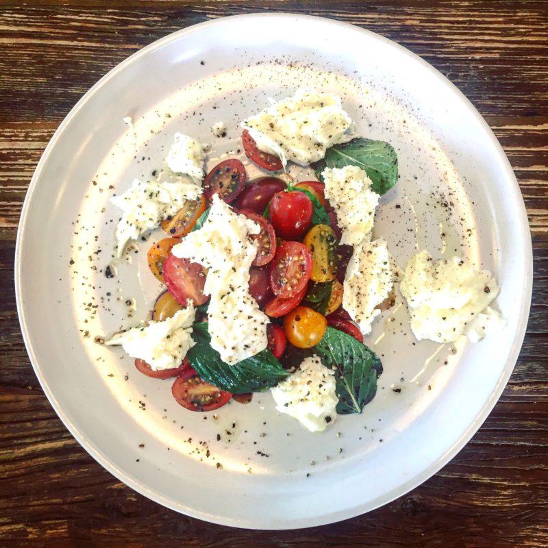 spring menu 2017 - buffalo mozzarella, fresh basil and tomatoes