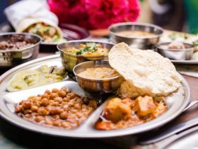 Thali curry plate, authentic South Indian curries