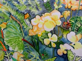 A colourful watercolour picture by artist Karen Garratt in greens, blue and yellows and yellows