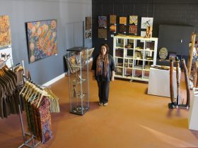 Artist Lisa Waup in the Baluk Arts gallery