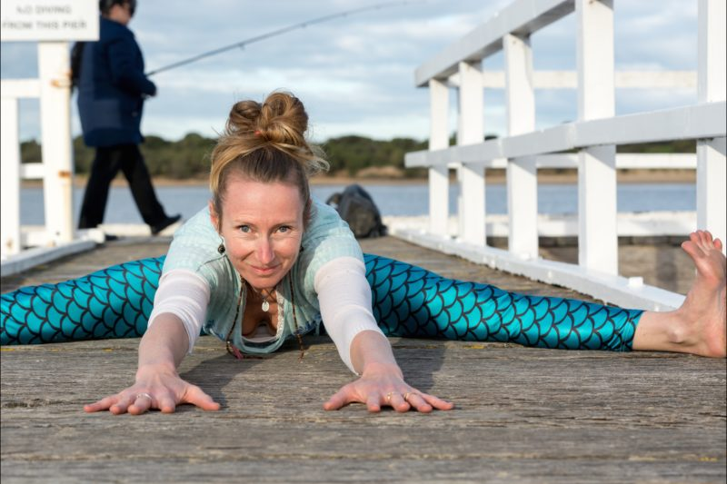 tretch, sweat, laugh, rest, with Rache Hely at Barwon Heads Yoga.