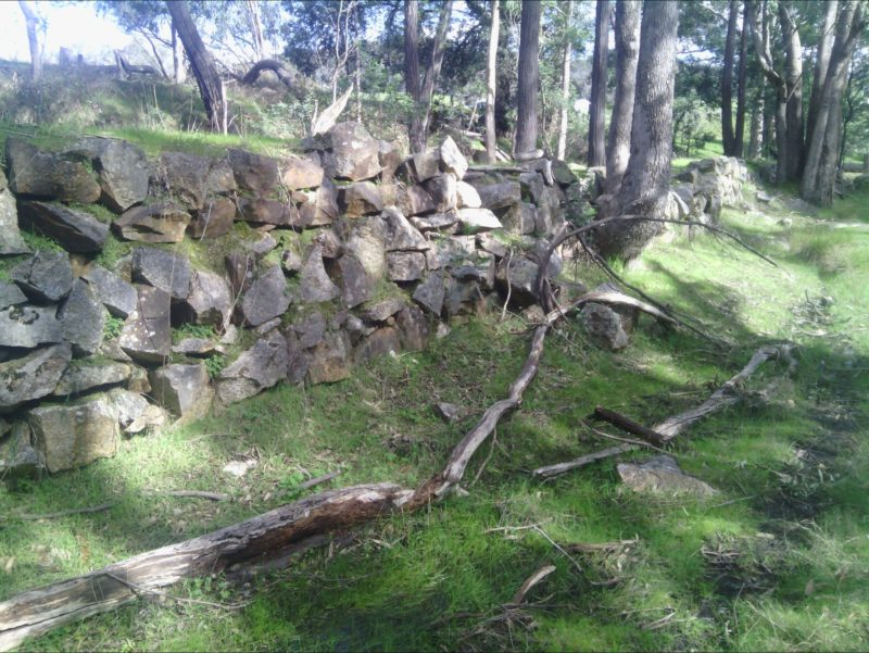 A 200 metre rock wall built by Chinese to divert Magpie Creek & mine the creek bed