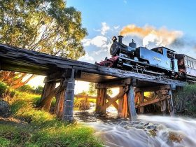Steam locomotive on trestle bridge