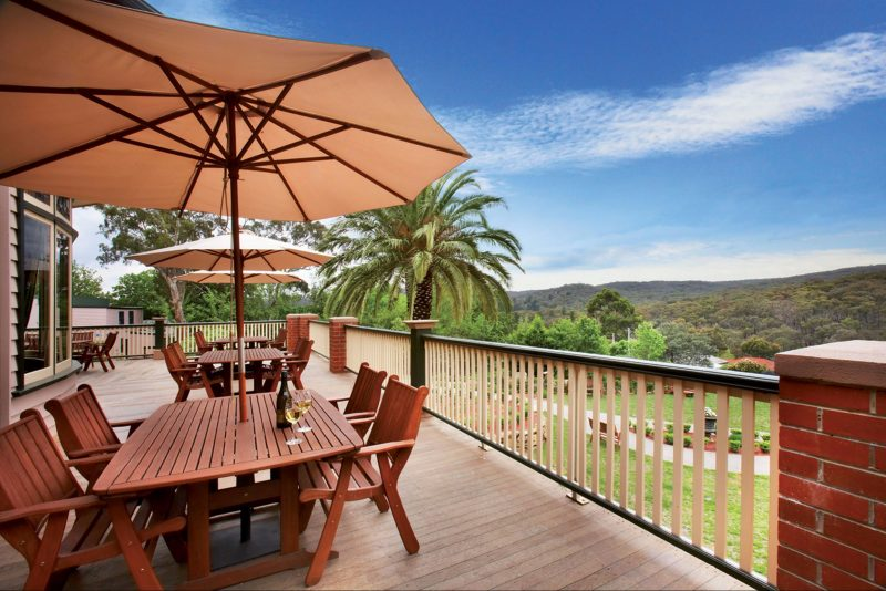 Outdoor decking looking the forest, Spa Country